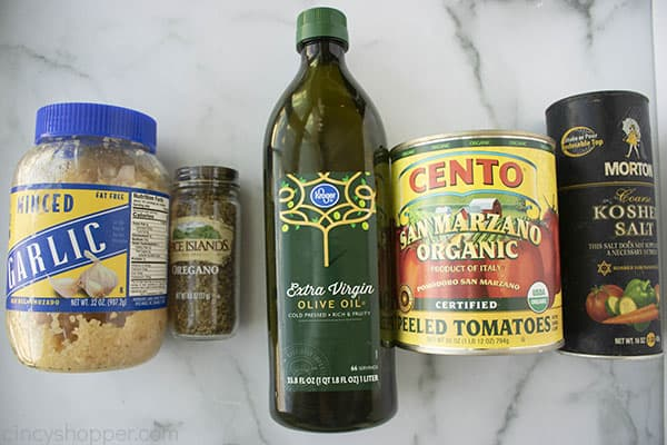 Ingredients to make homemade pizza sauce