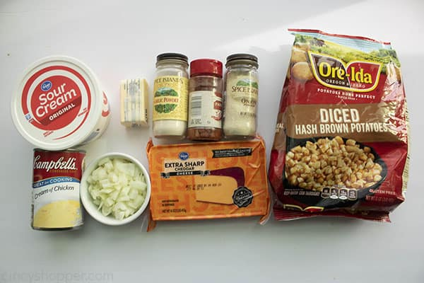 Ingredients to make Cheesy Potato Casserole