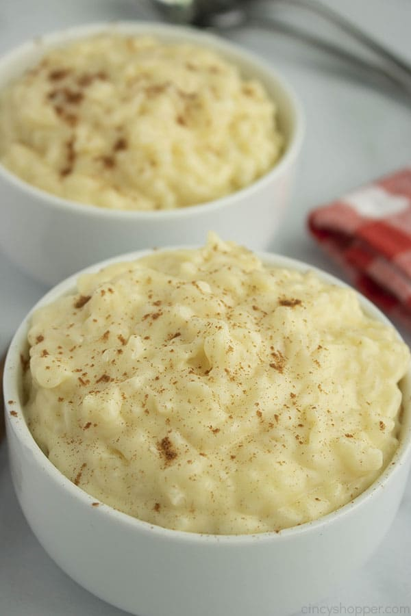 Easy Rice Pudding in a bowl.