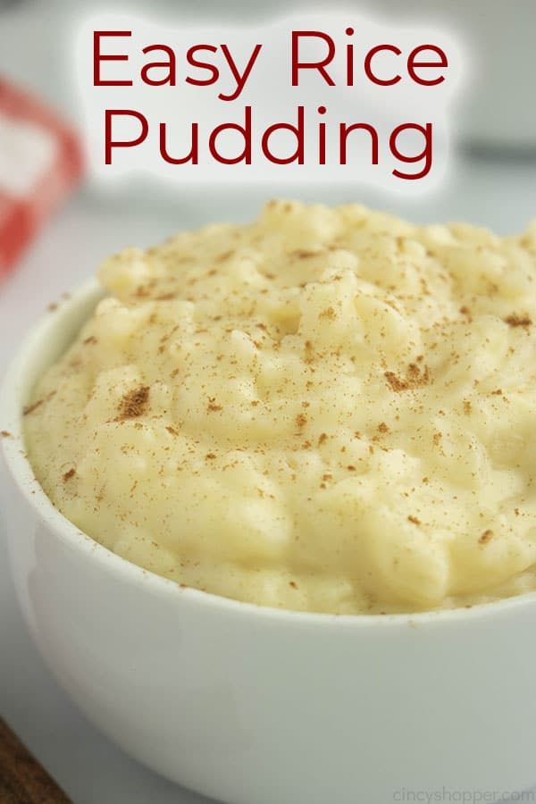 Text on image easy rice pudding