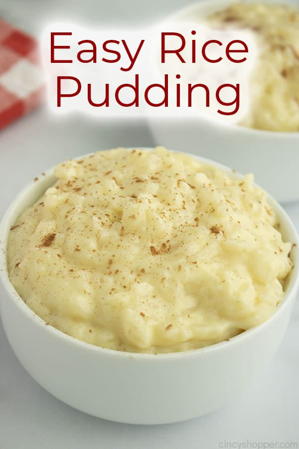 text on image rice pudding in a white bowl