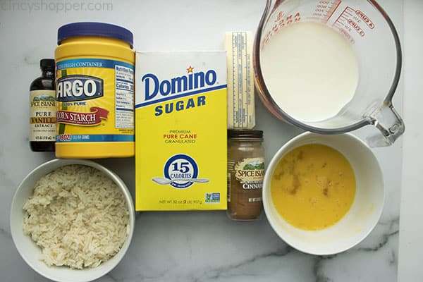 Ingredients to make Easy Rice Pudding