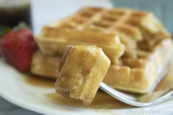Homemade Syrup on a waffle piece