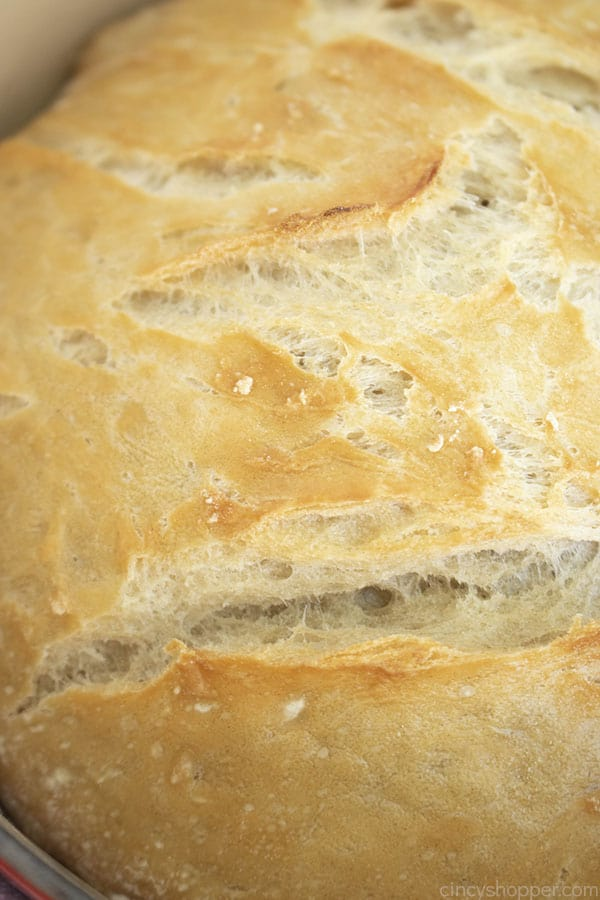 Closeup of crusty homemade bread