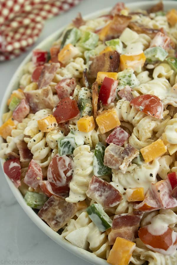 Creamy Bacon Ranch Pasta Salad in a white bowl.