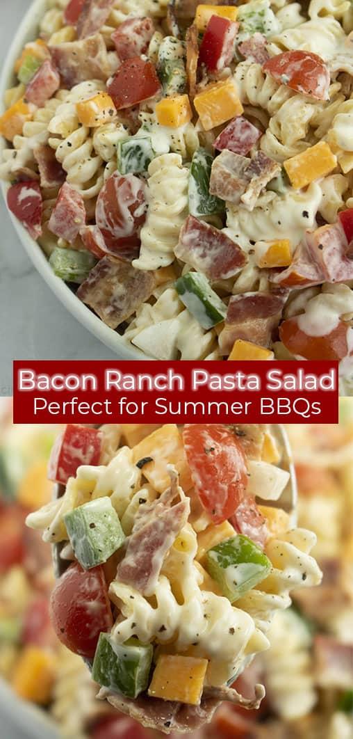 Long Pin image of Creamy Bacon Ranch Pasta Salad