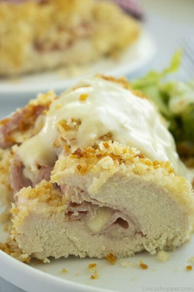 easy chicken cordon bleu on a white plate