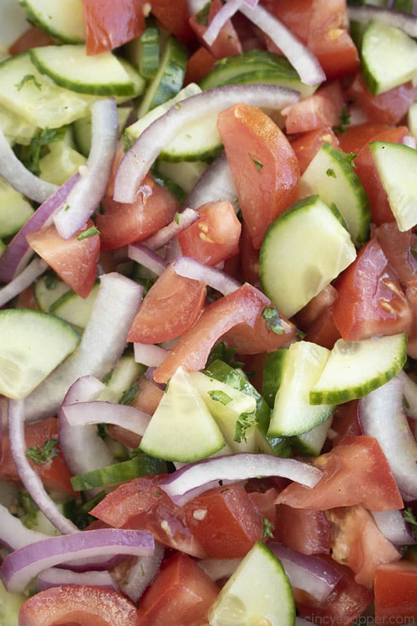vegetable salad with cucumbers tomatoes and onions