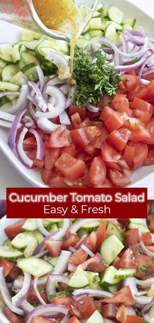 titled photo (and shown) cucumber tomato salad: easy and fresh