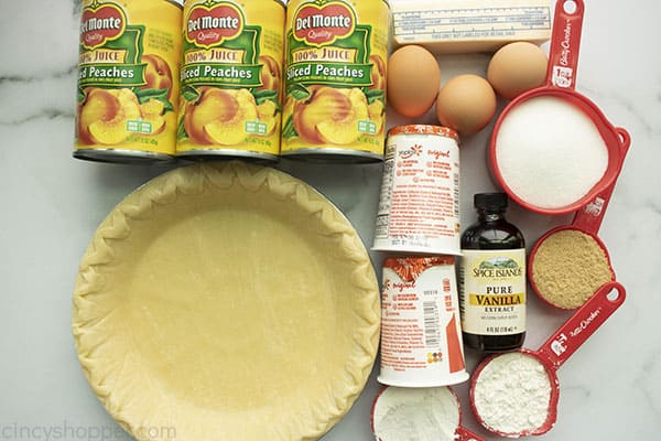 Ingredients to make pie with canned peaches