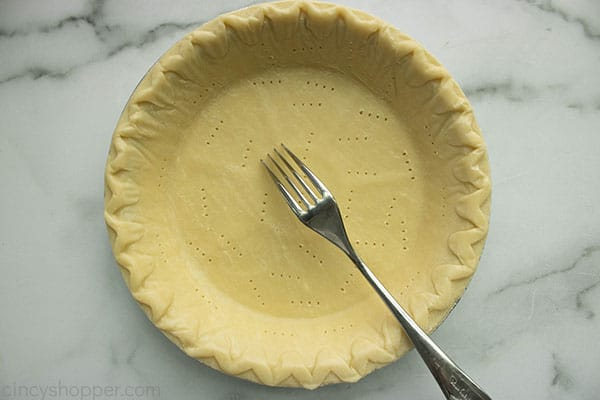 Fork poked pie crust