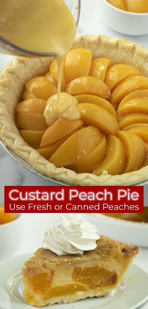 Long collage image of peach custard pie