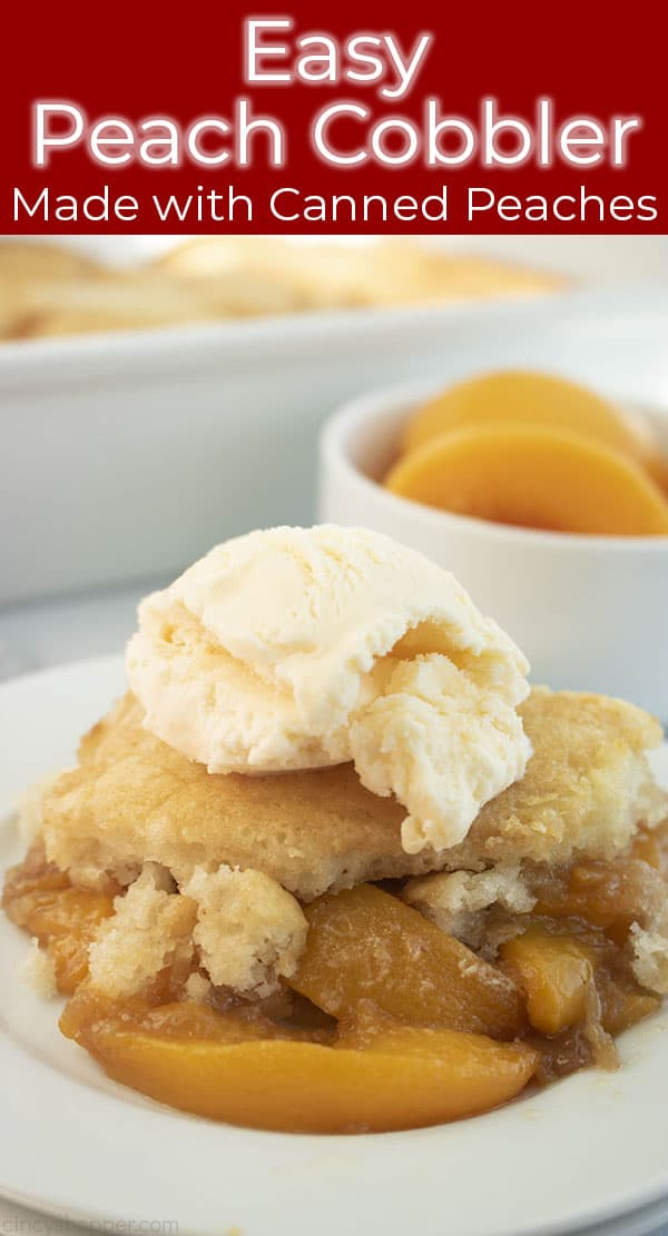 Long image with peach cobbler and ice cream scoop