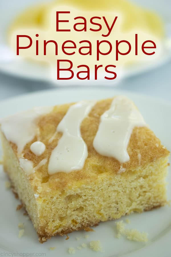 Text on image with Easy Pineapple dessert Bars