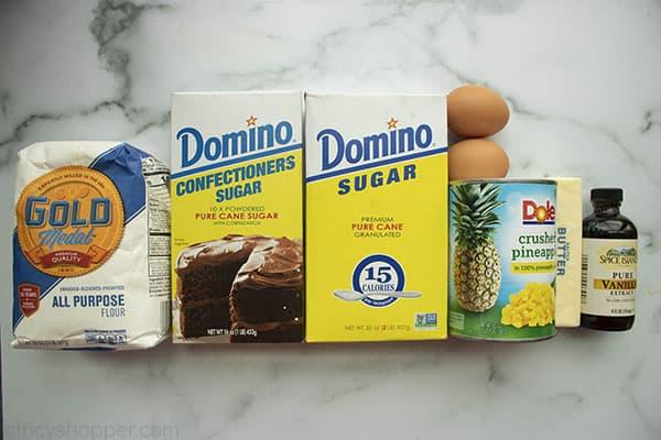 Ingredients to make Pineapple dessert bars