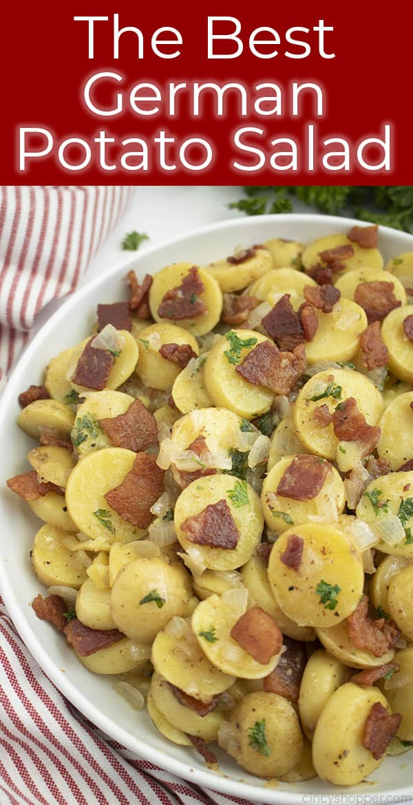 plate of warm potato salad with a striped towel titled The Best German Potato Salad
