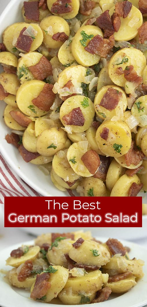 overhead and close up photos titled The Best German Potato Salad