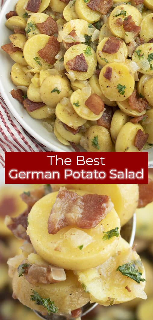 The Best German Potato Salad on a plate and close up on a spoon