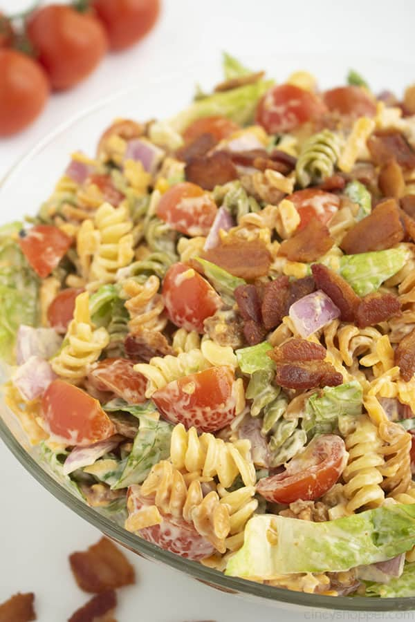 BLT pasta salad in a clear bowl