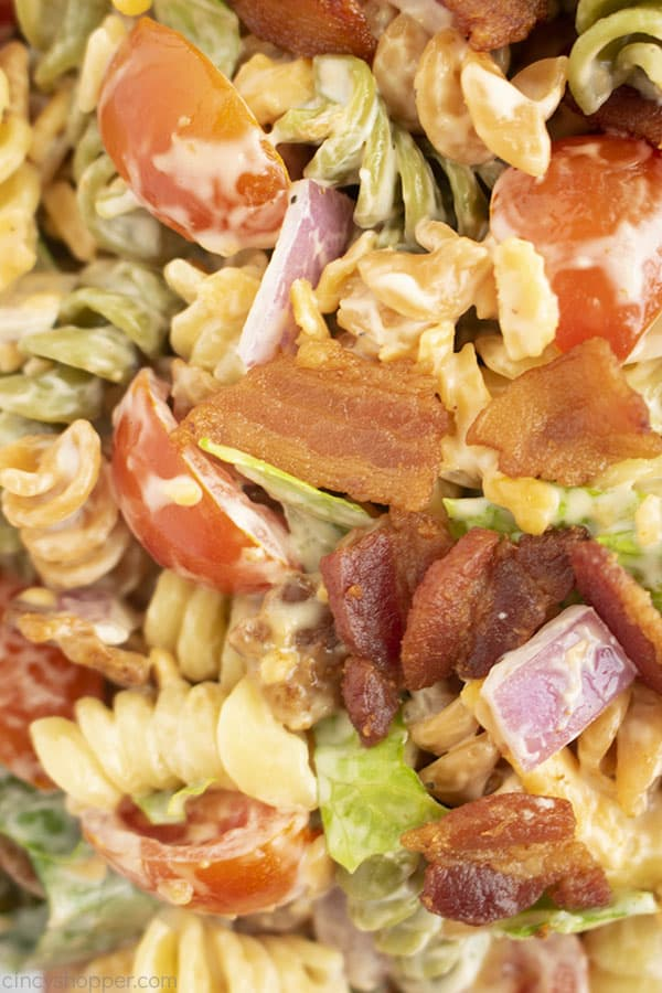 Close up of pasta salad with bacon, lettuce, and tomatoes