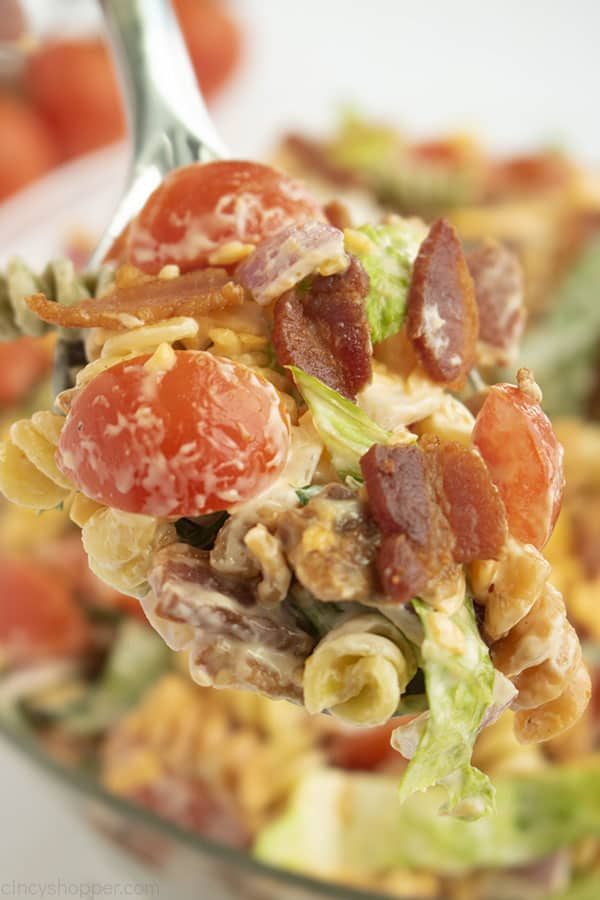 Metal spoon with pasta, bacon, lettuce, and tomatoes in dressing