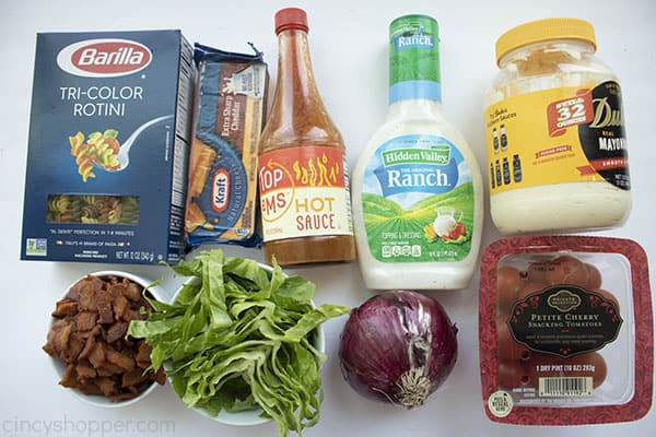 Ingredients for a pasta salad recipe