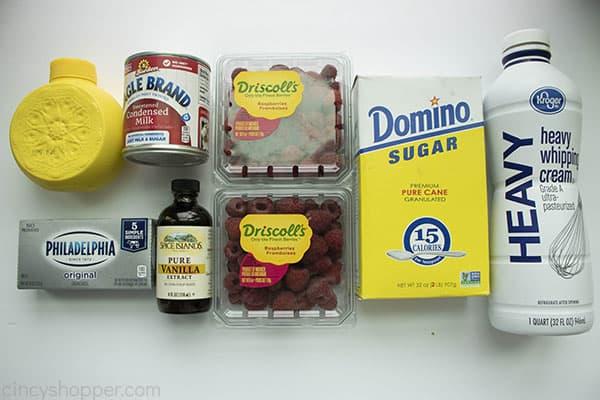 Ingredients to make raspberry cheesecake homemade ice cream