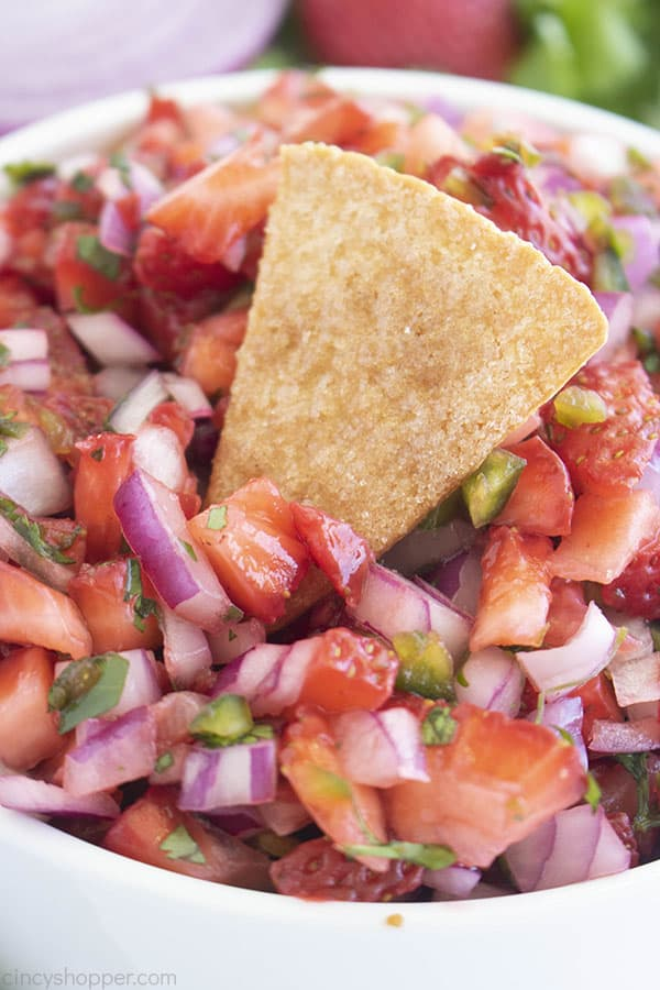 Homemade tortilla chip sitting in bowl of fruit salsa