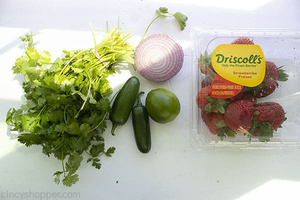 Ingredients for simple fruit salsa: cilantro, jalapeno peppers, lime, half of red onion, strawberries