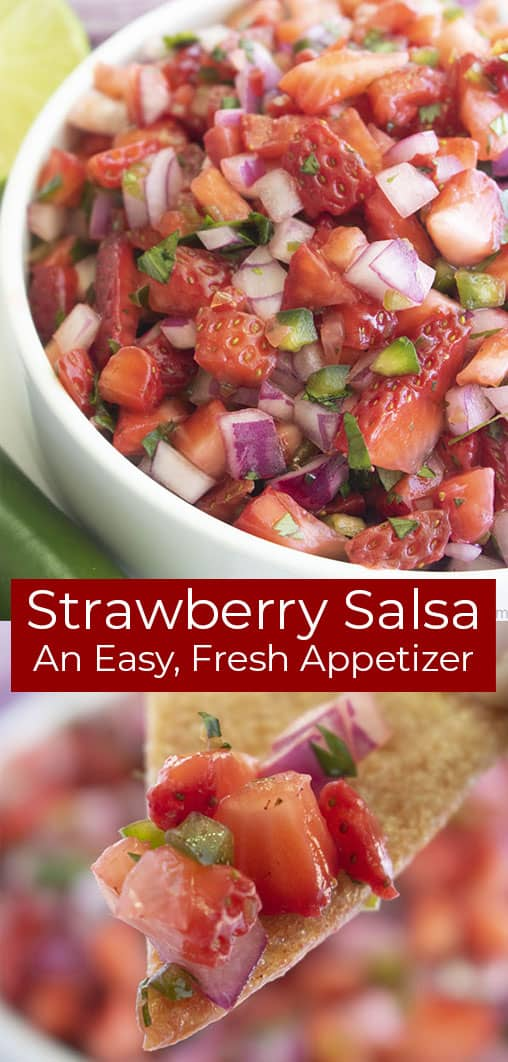 Long Pin, Shot of Finished Salsa above Shot of Salsa on Tortilla Chip, Text on Image: Strawberry Salsa An Easy, Fresh Appetizer