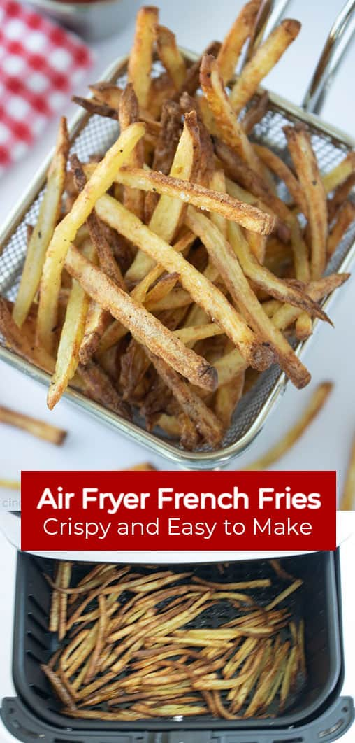 Long Pin image with banner Air Fryer French Fries Crispy and Easy to Make