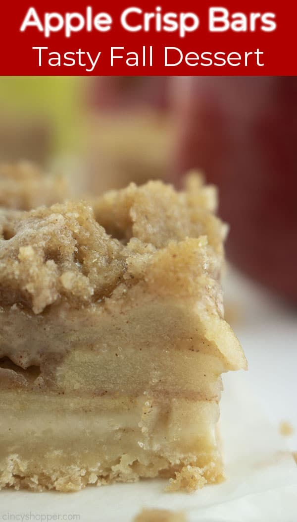 Long Pin with a close up shot of the Apple Crisp Bar with a text in a red banner that says Apple crisp Bars, Tasty Fall Dessert
