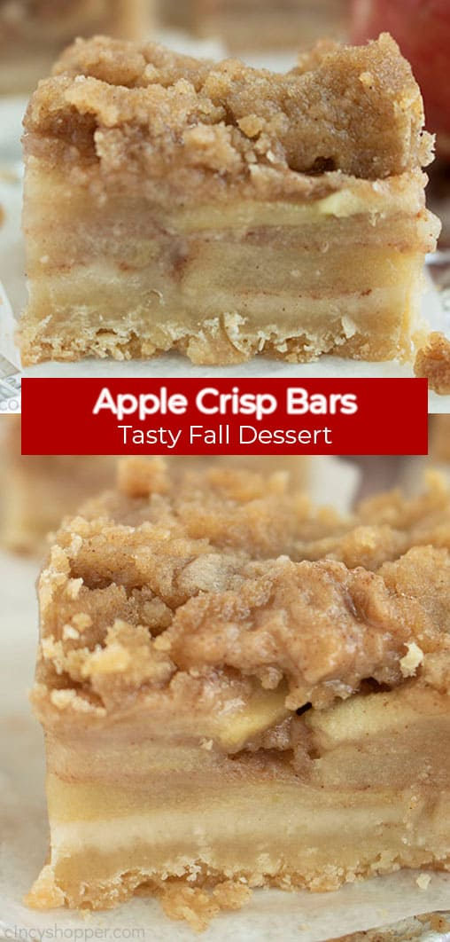 Long pin image with red banner that says Apple Crisp Bars, Tasty Fall Dessert