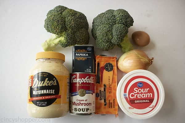 Ingredients from list for broccoli casserole