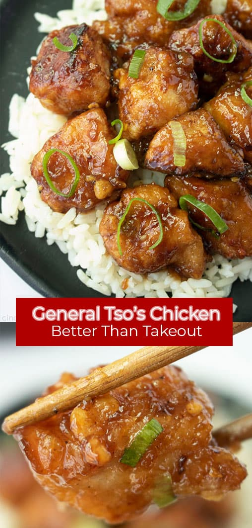 Long Pin General Tso's Chicken text Better than takeout.