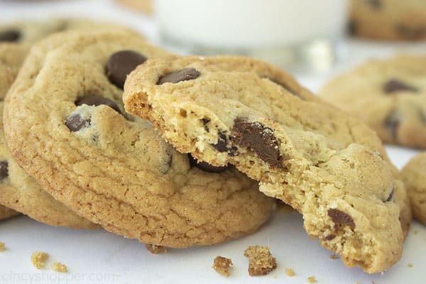 Bite out of chewy chocolate chip cookies