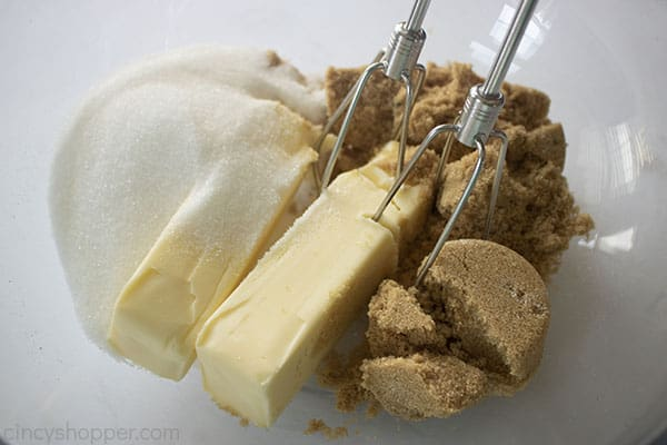 Butter and sugars in a bowl