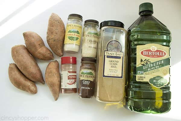 Ingredients to make roasted sweet potatoes