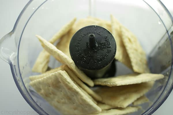 Saltine crackers in a food processor.