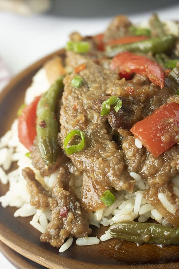 Close up shot of Simple Mongolian Beef with red peppers and green beans