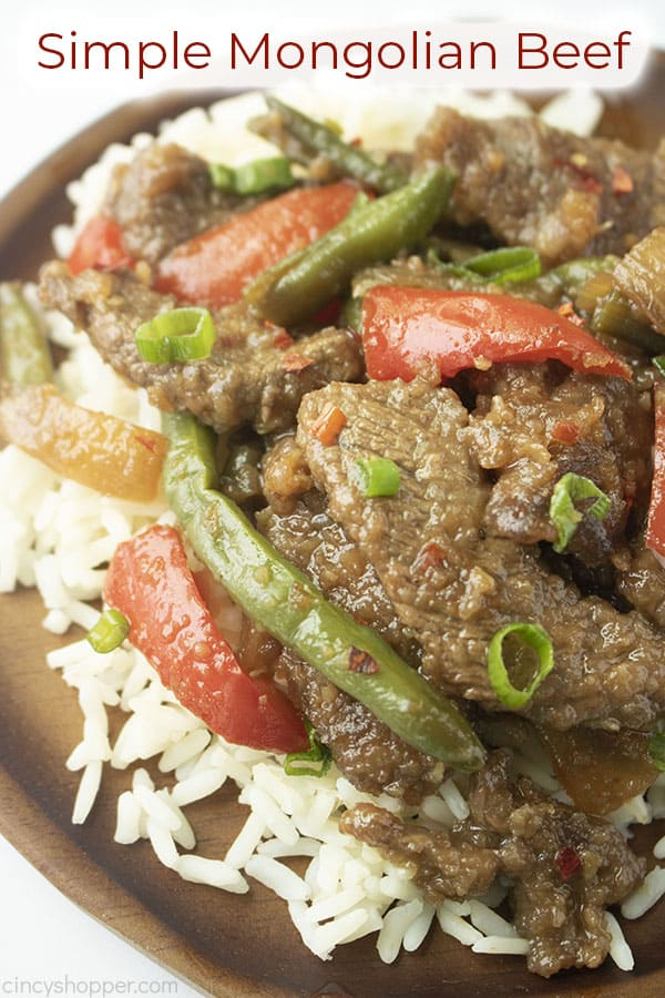 Long pin image of the Mongolian Beef dish titled Simple Mongolian Beef in a red and white banner