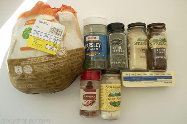 Ingredients to make a Slow Cooked Rotisserie Chicken