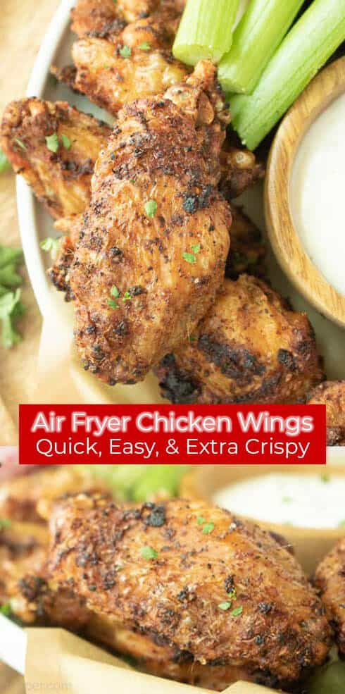 Long pin red banner with text Air Fryer Chicken Wings Extra Crispy Air Fryer Chicken Wings
