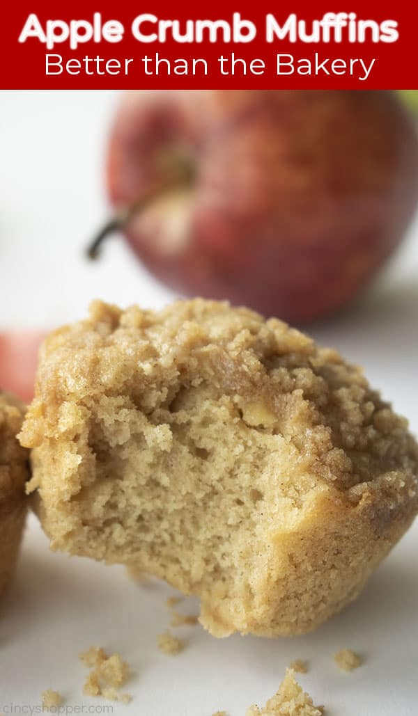 Long Pin text on image Apple Crumb Muffins Better than the Bakery