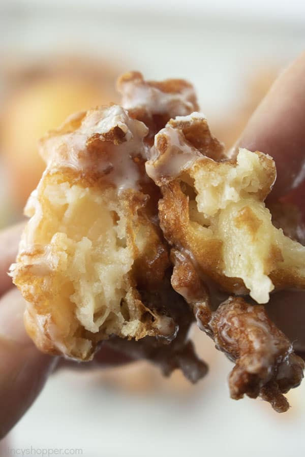 in close apple fritter busted open