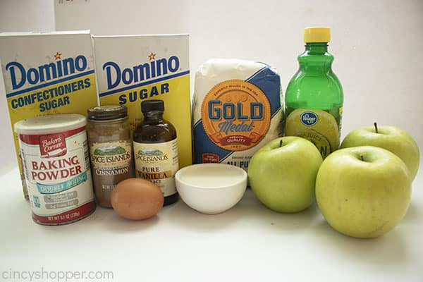 Ingredients for fried apple donut fritters
