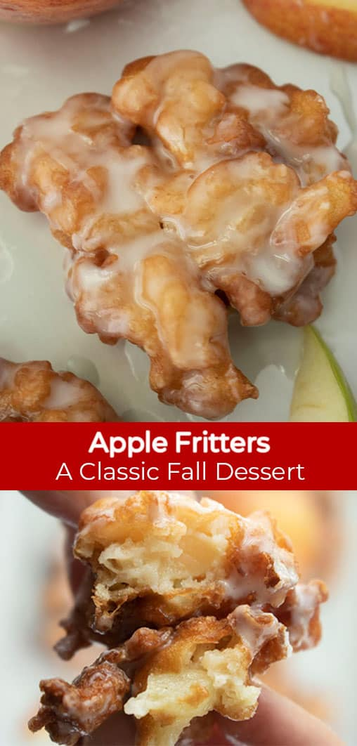 Long Pin collage with red banner with Text Apple Fritters A Classic Fall Dessert