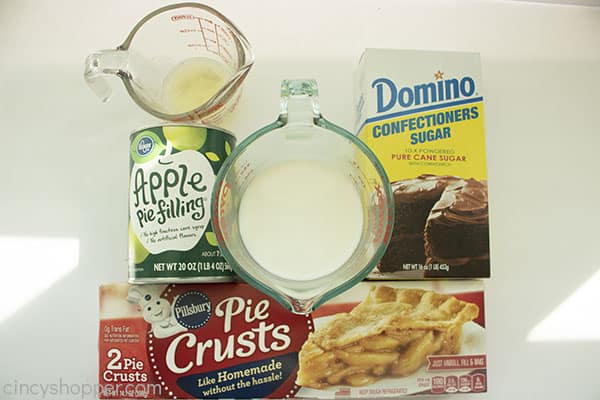Ingredients for hand pies on a white background
