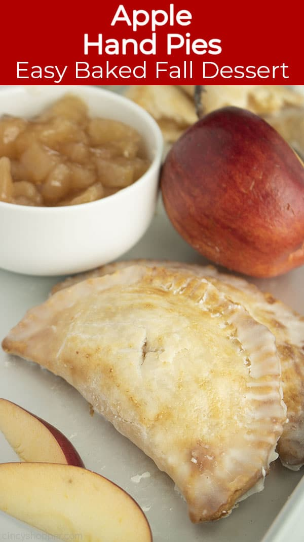 Long pin text on image Apple Hand Pies Easy Baked Fall Dessert
