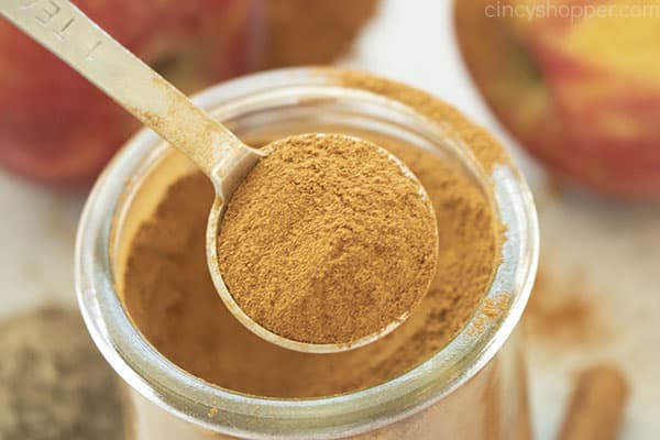 Horizontal image of teaspoon with apple spice mix